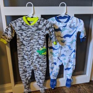 2 Fleece Footie Baby Pajamas